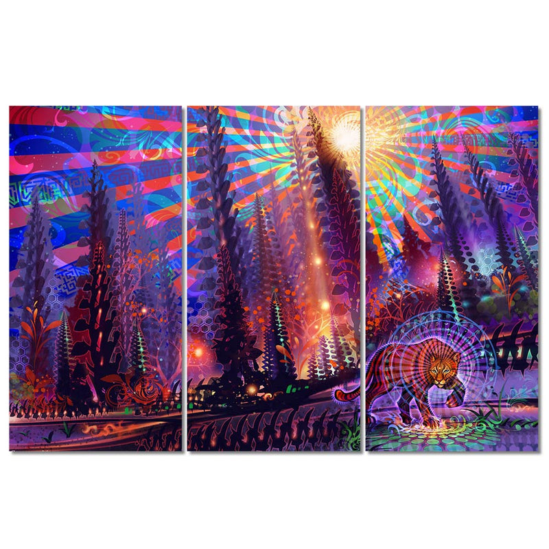 3-Piece Trippy Psychedelic Forest Cougar Canvas Wall Art