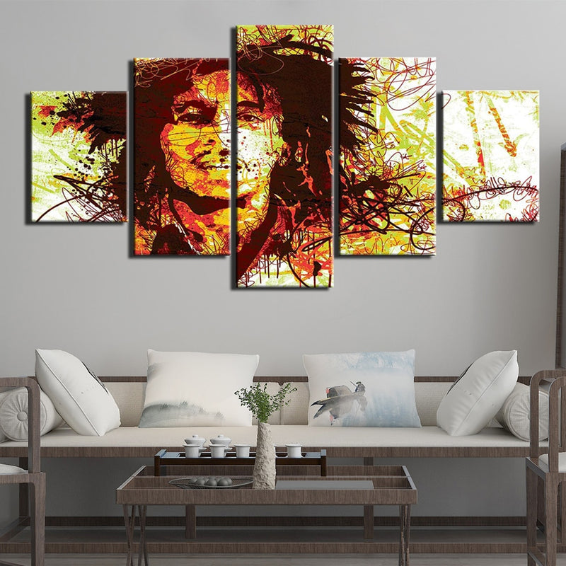 5-Piece Abstract Bob Marley Portrait Canvas Wall Art