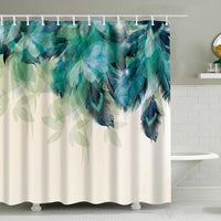 Teal Green Floral Feather Print Bathroom Shower Curtain