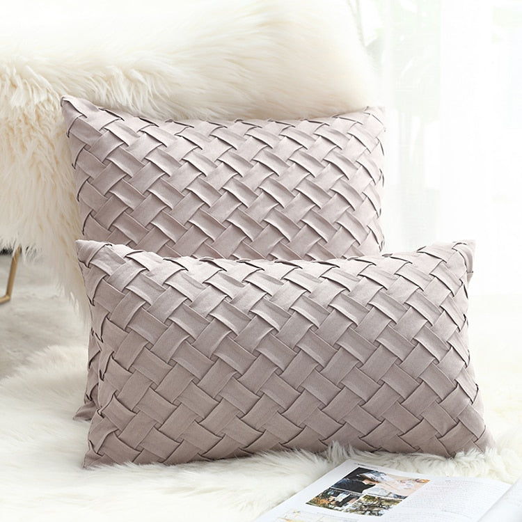 Solid Gray / Pink Weaved Faux Suede Throw Pillow Cover