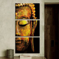 3-Piece Abstract Buddha Face Canvas Wall Art