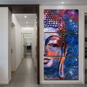 3-Piece Canvas Mystical Buddha Face Wall Art