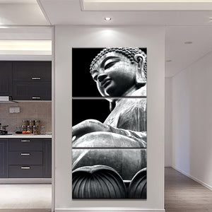 3-Piece Black & White Buddha Statue Canvas Wall Art