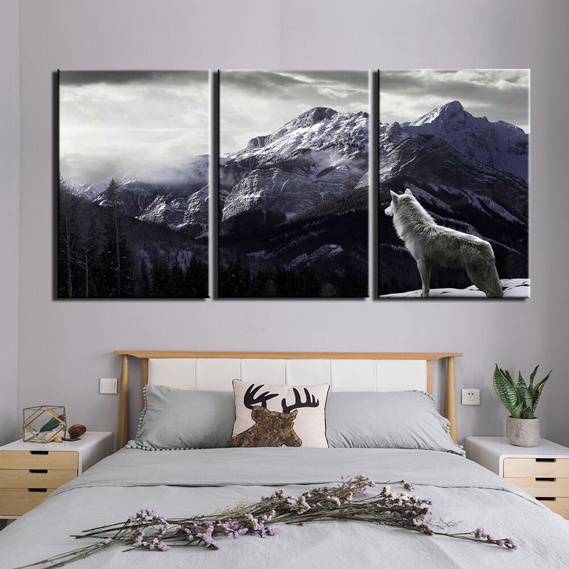 3-Piece Black & White Mountain Wolf Canvas Wall Art