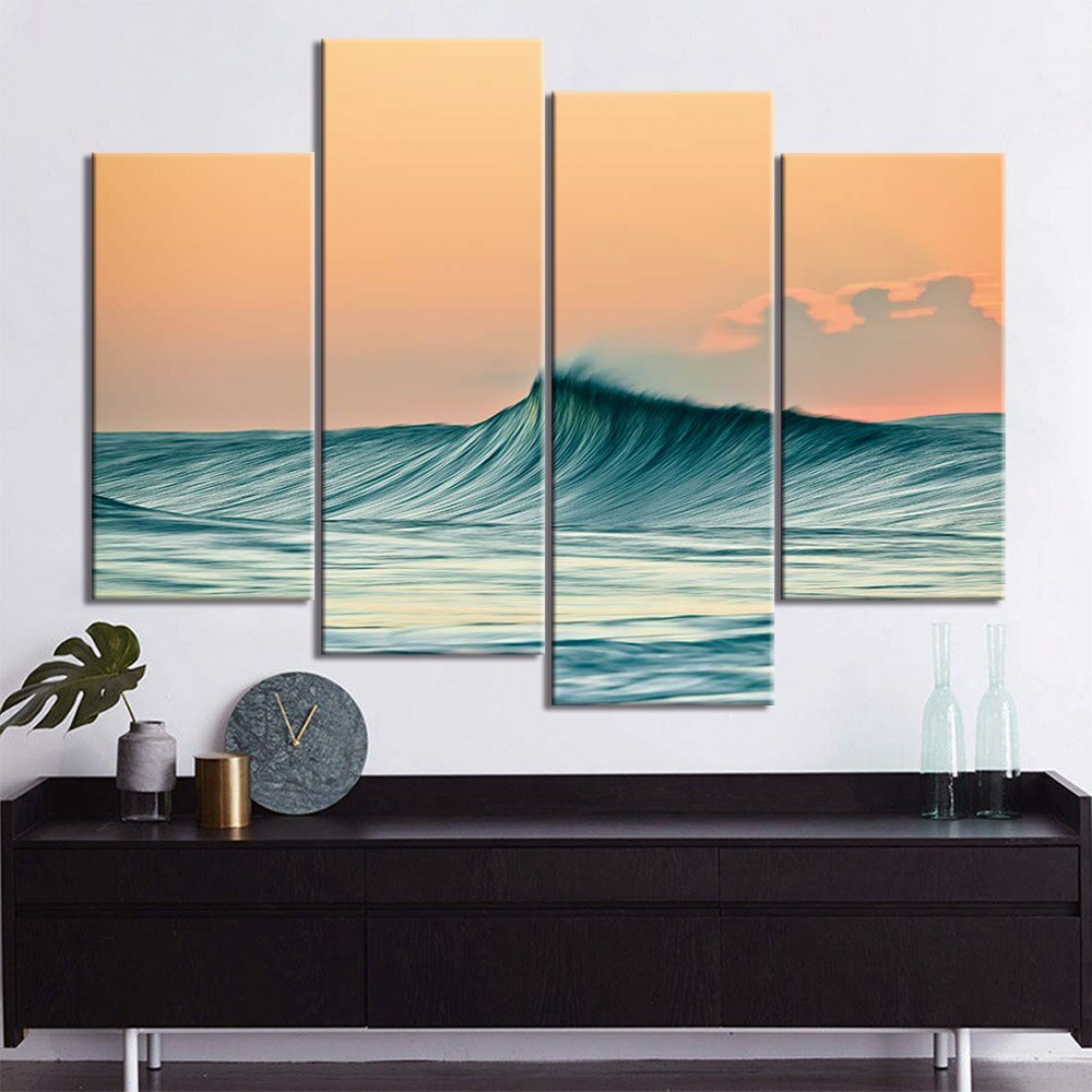 4-Piece Smooth Rolling Ocean Wave Canvas Wall Art