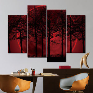 4-Piece Red Lunar Tree Landscape Canvas Wall Art