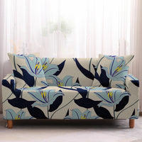 Light Blue Lily Floral Print Sofa Couch Cover