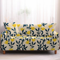 Yellow Floral Vine Pattern Sofa Couch Cover