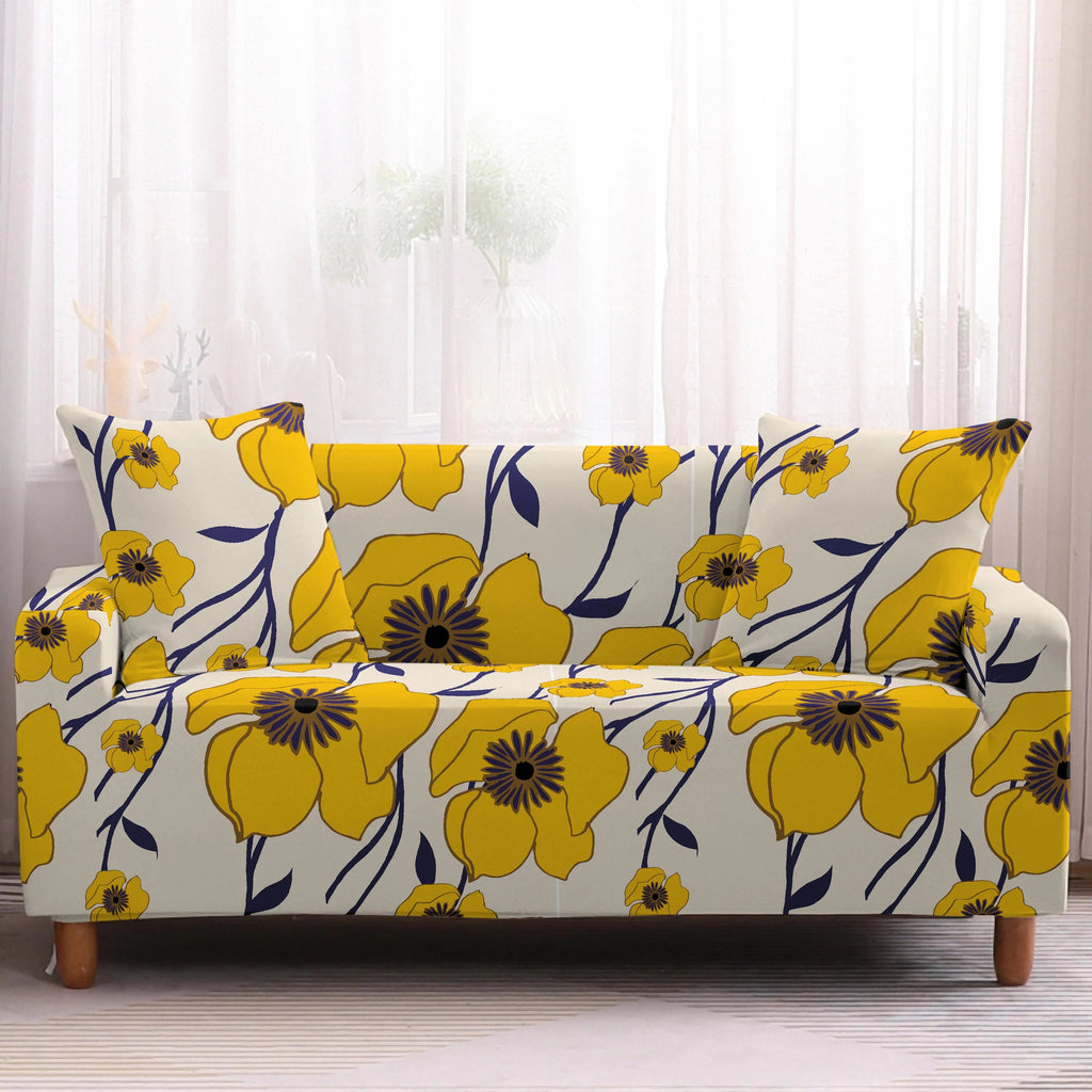Abstract Yellow Floral Pattern Sofa Couch Cover