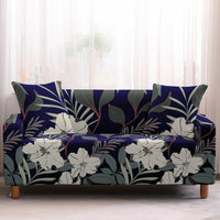 Blue & White Floral Leaf Print Sofa Couch Cover