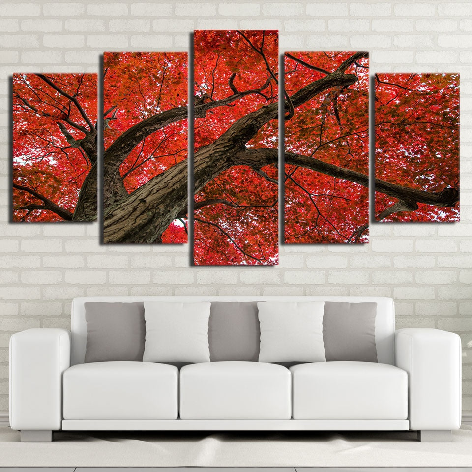5-Piece Red Maple Tree Branch Canvas Wall Art