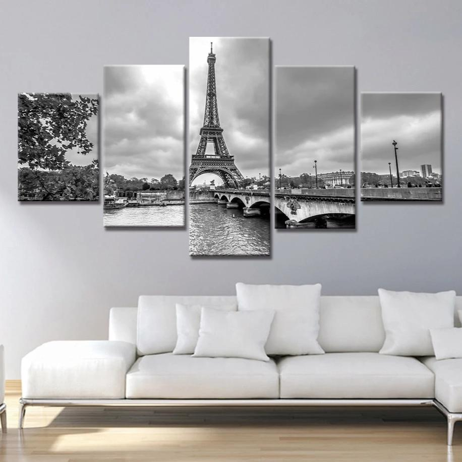 5-Piece Black & White Paris Eiffel Tower Skyline Canvas Wall Art