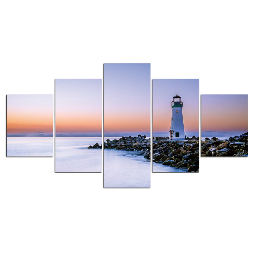 5-Piece Coastal Lighthouse Sunset Canvas Wall Art