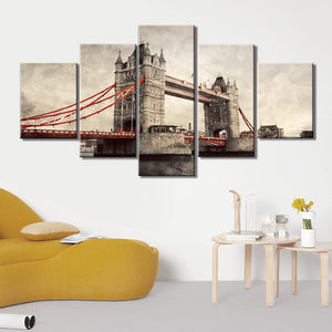 5-Piece Vintage London Bridge Painting Canvas Wall Art