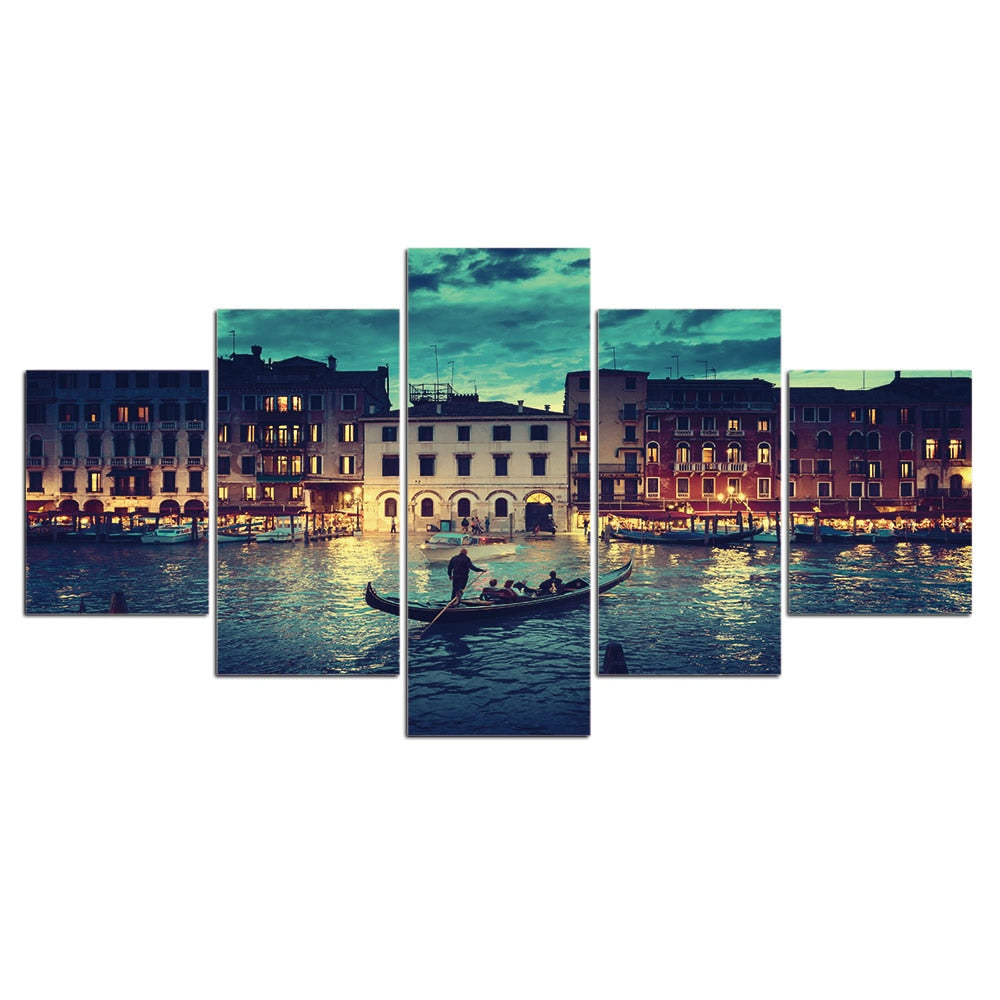 5-Piece Nighttime Venice River Cruise Canvas Wall Art