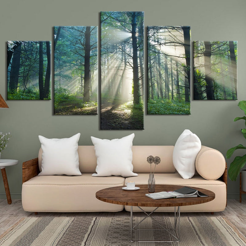5-Piece Misty Forest Sun Rays Canvas Wall Art