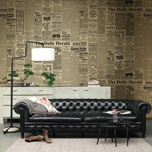 Black & White Vintage Retro Newspaper Print Wallpaper