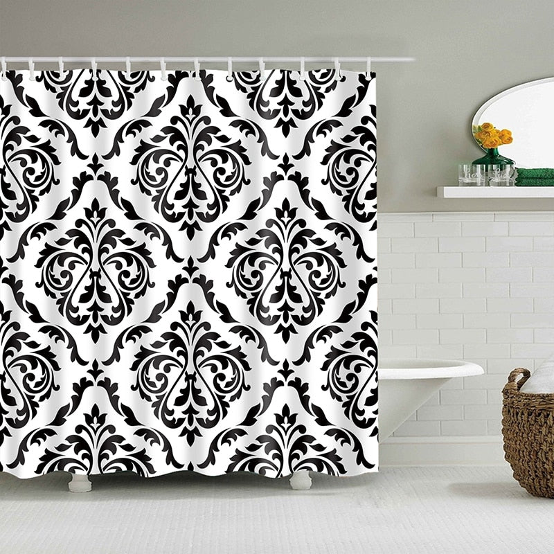 Simple Floral Damask Pattern Bathroom Shower Curtain