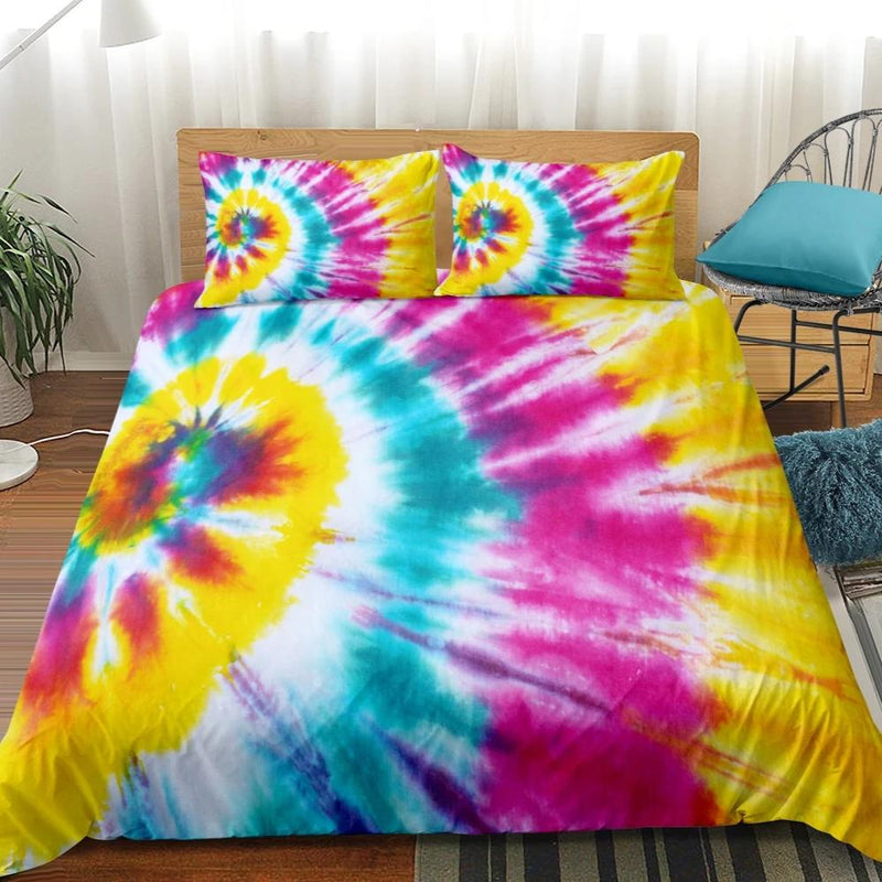 2/3-Piece Pink & Yellow Tie-Dye Duvet Cover Set