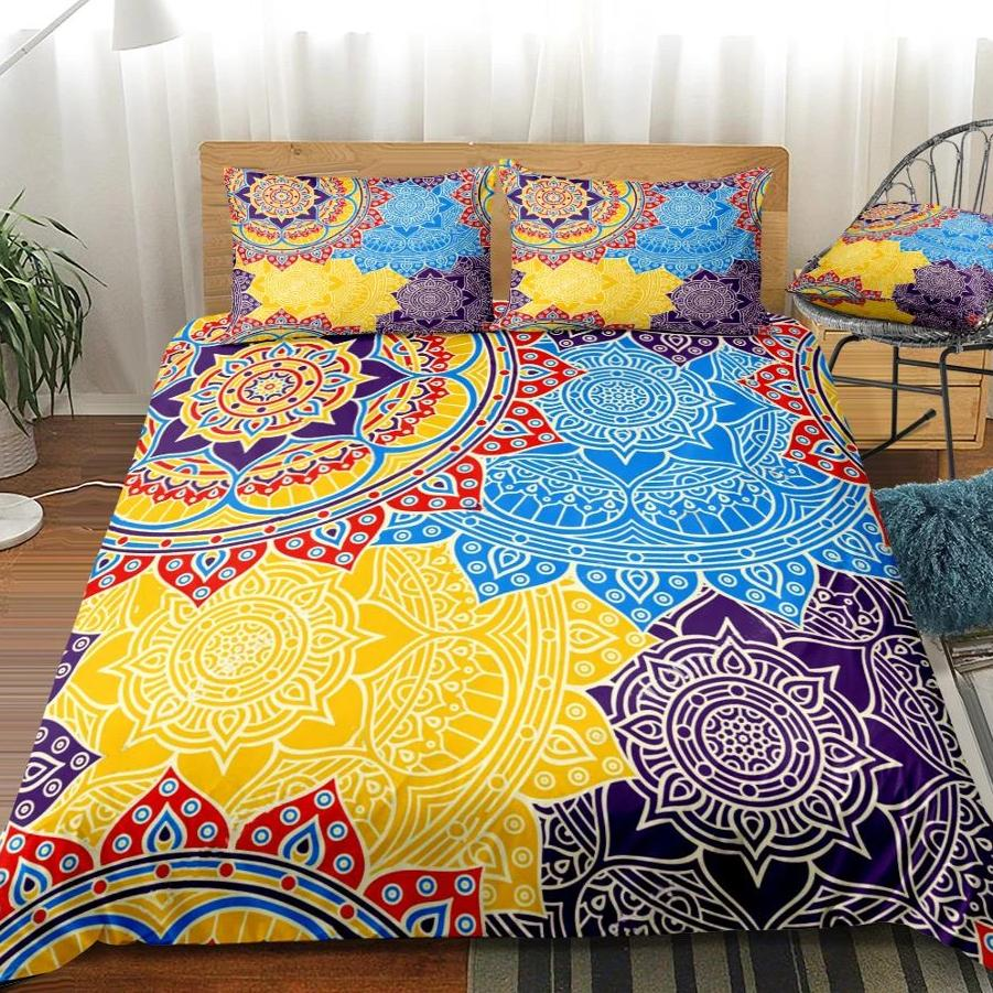 2/3-Piece Colorful Overlapping Mandala Duvet Cover Set