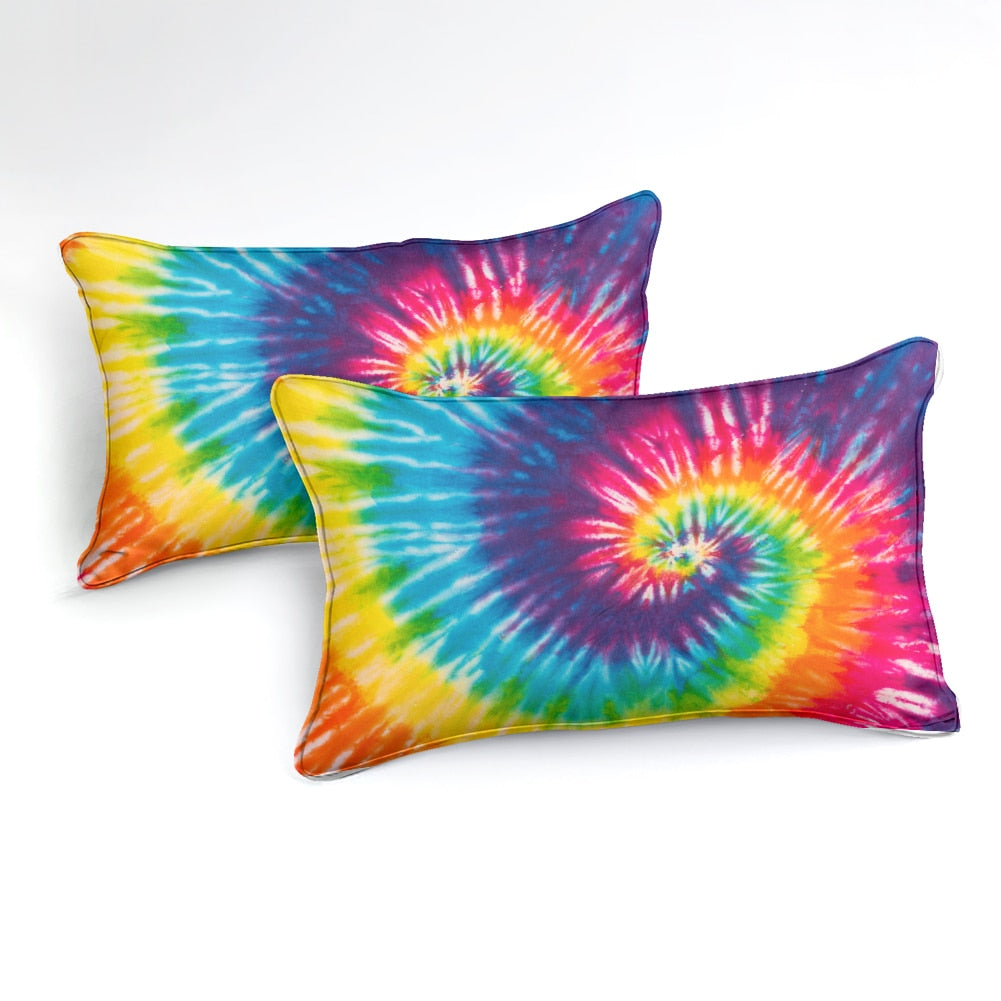 2/3-Piece Bold Rainbow Tie-Dye Duvet Cover Set
