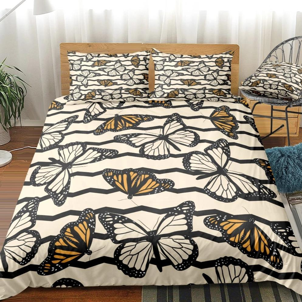 Beige 2/3-Piece Striped Butterfly Pattern Duvet Cover Set