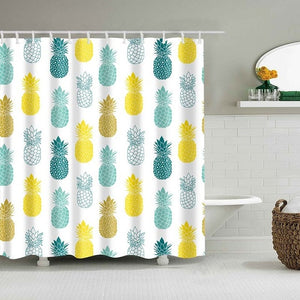 Tropical Pineapple Pattern Bathroom Shower Curtain