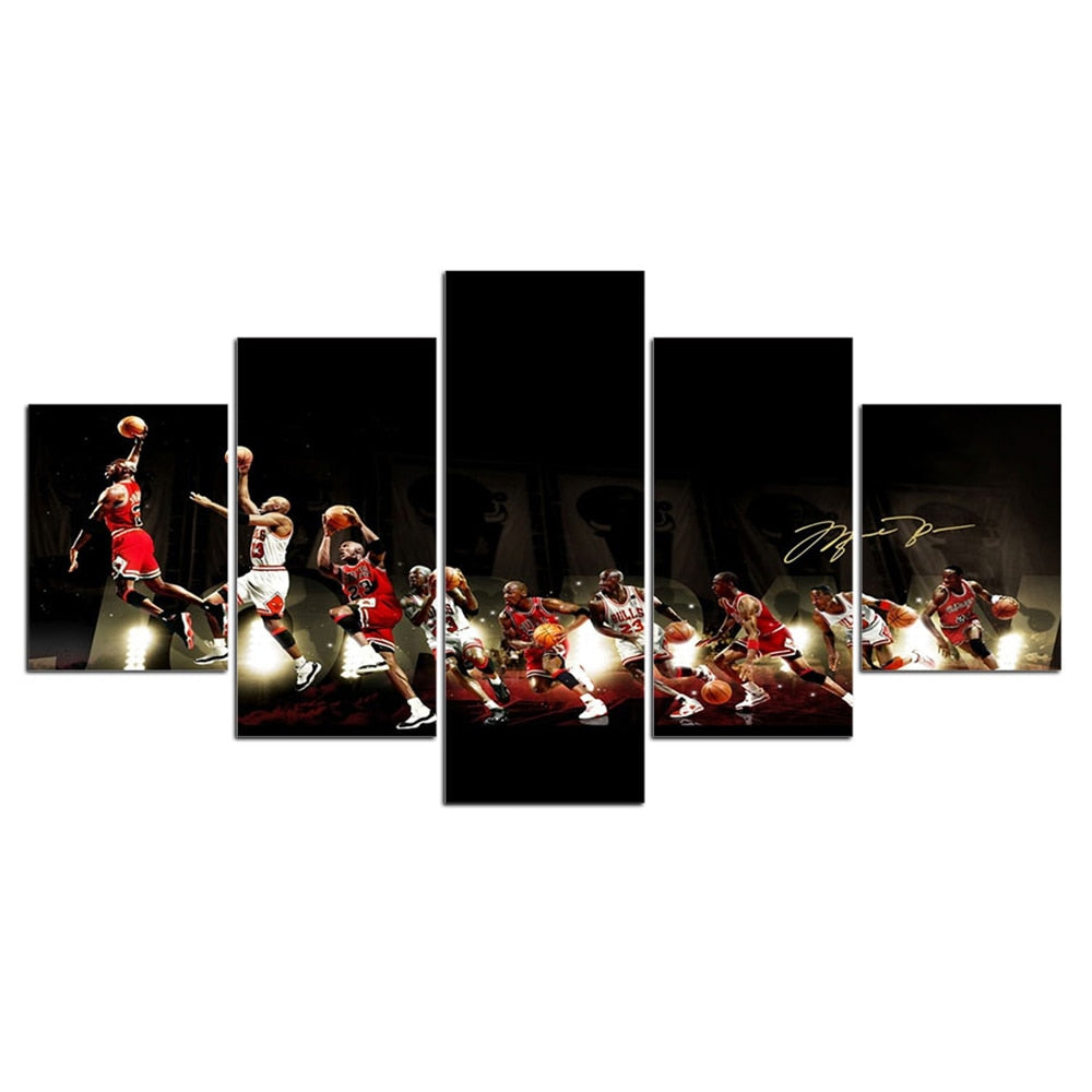 5-Piece Michael Jordan Basketball Evolution Canvas Wall Art