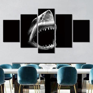 5-Piece Black & White Shark Jaws Canvas Wall Art