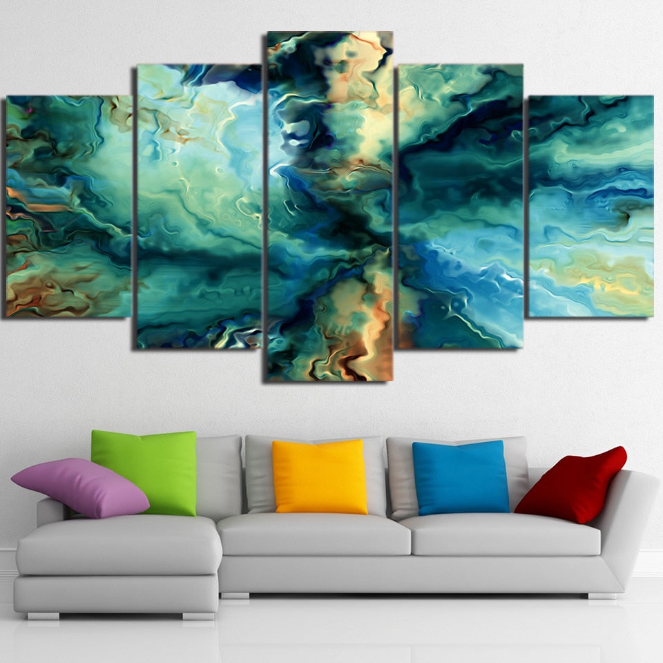 5-Piece Abstract Blue Rippling Water Canvas Wall Art