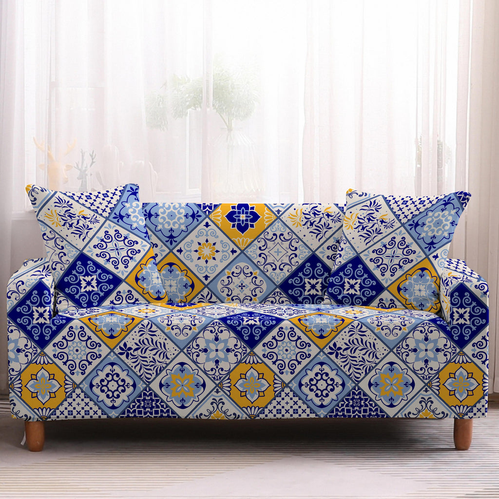 Blue Vintage Floral Quilt Pattern Sofa Couch Cover