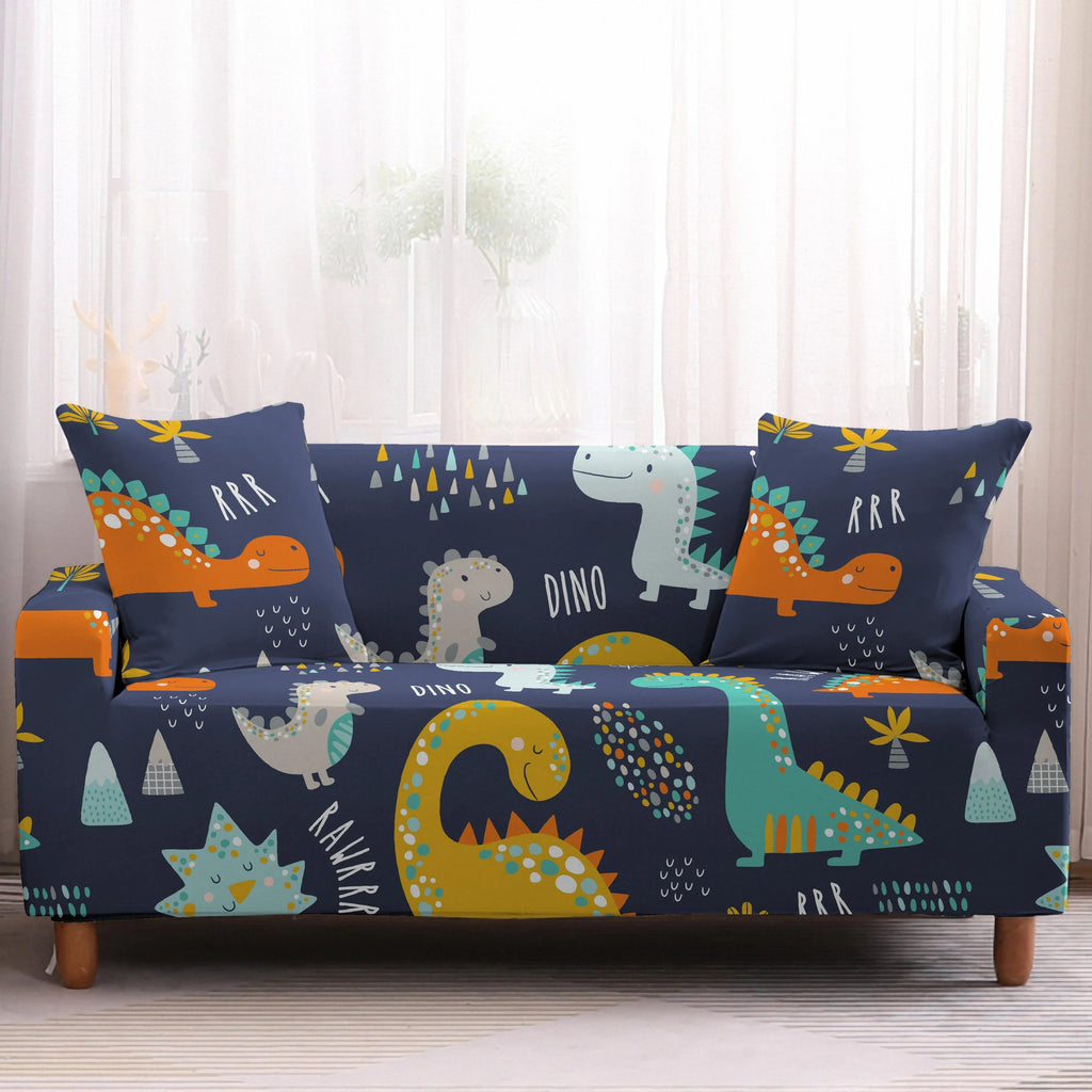 Blue Cartoon Dinosaur Pattern Sofa Couch Cover