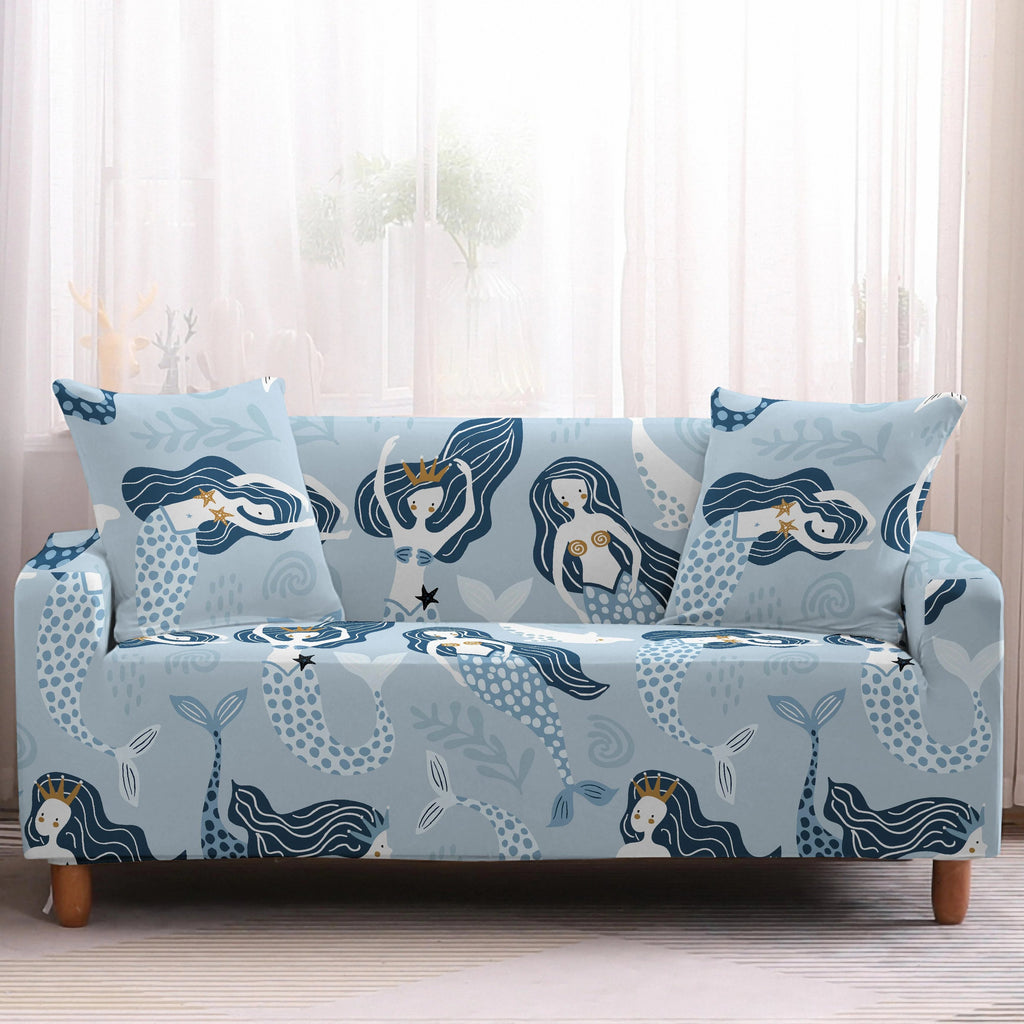 Light Blue Swimming Mermaid Pattern Sofa Couch Cover