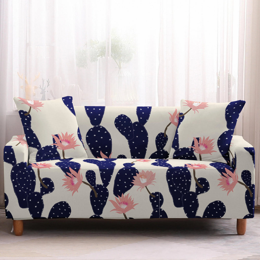 White & Blue Pink Floral Cactus Pattern Sofa Couch Cover