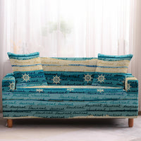 Teal Nautical Ocean Stripe Print Sofa Couch Cover