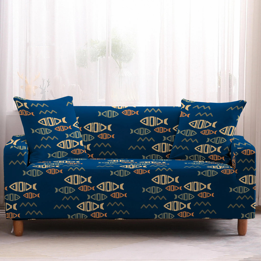 Blue & Gold Tribal Fish Pattern Sofa Couch Cover
