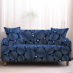 Blue Nautical Sea Shell Pattern Sofa Couch Cover
