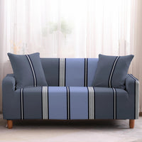 Blue Gray Contemporary Striped Sofa Couch Cover