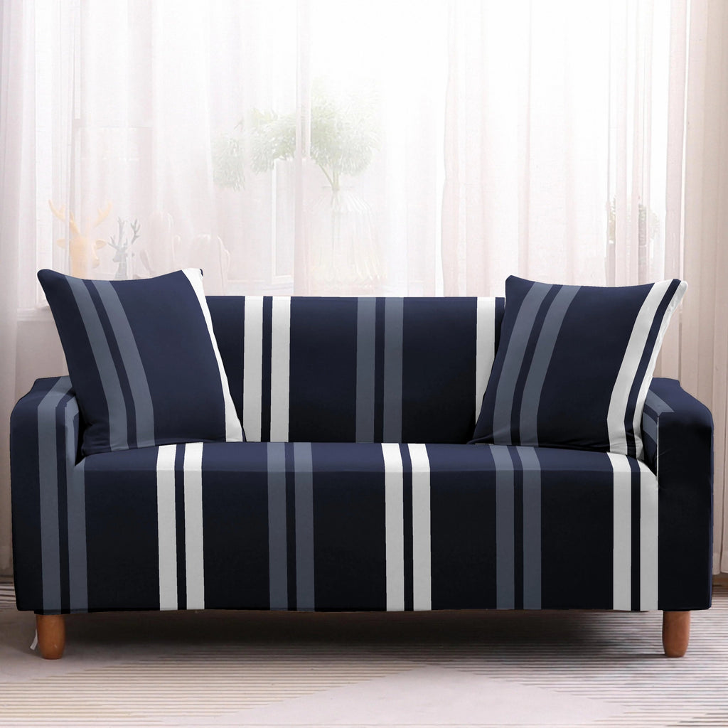 Navy Blue Contemporary Striped Sofa Couch Cover