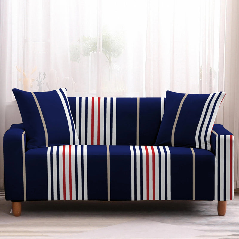 Red, White & Blue Irregular Striped Sofa Couch Cover