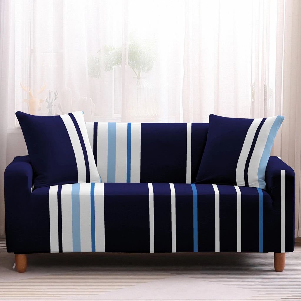 Dark Blue Irregular Striped Sofa Couch Cover