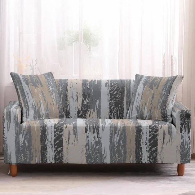 Gray Painted Stripe Pattern Sofa Couch Cover