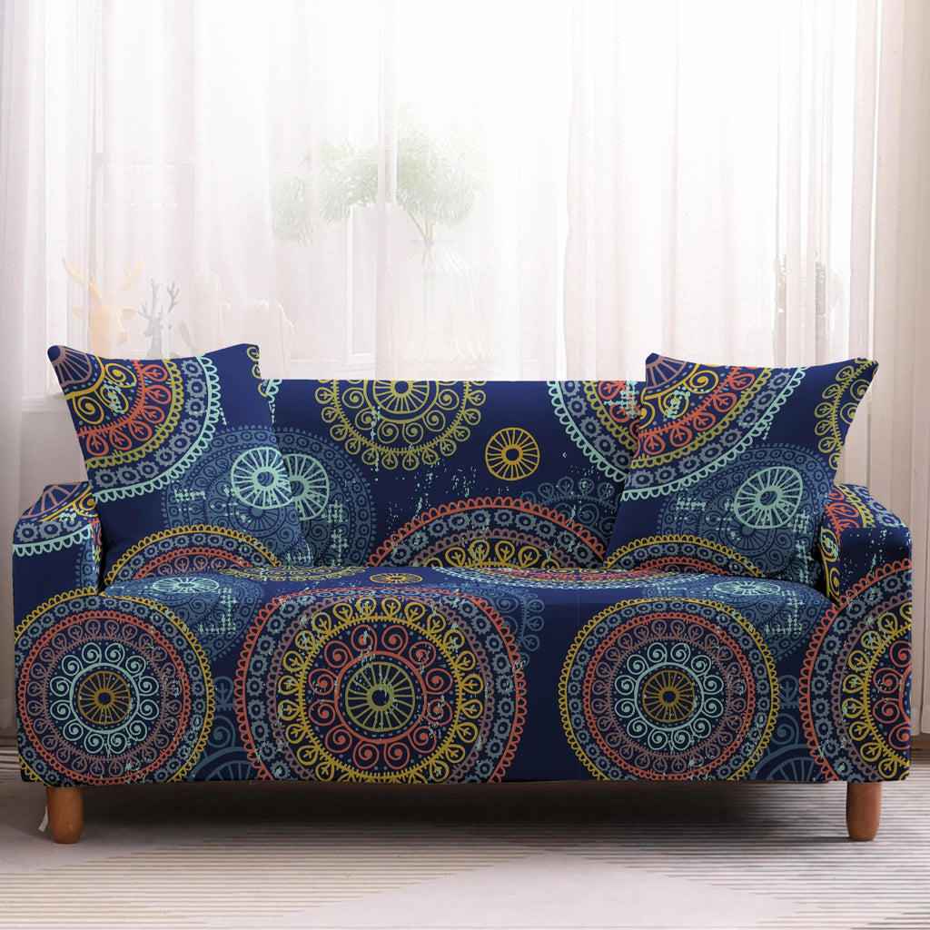 Blue Multi-Color Bohemian Mandala Sofa Couch Cover