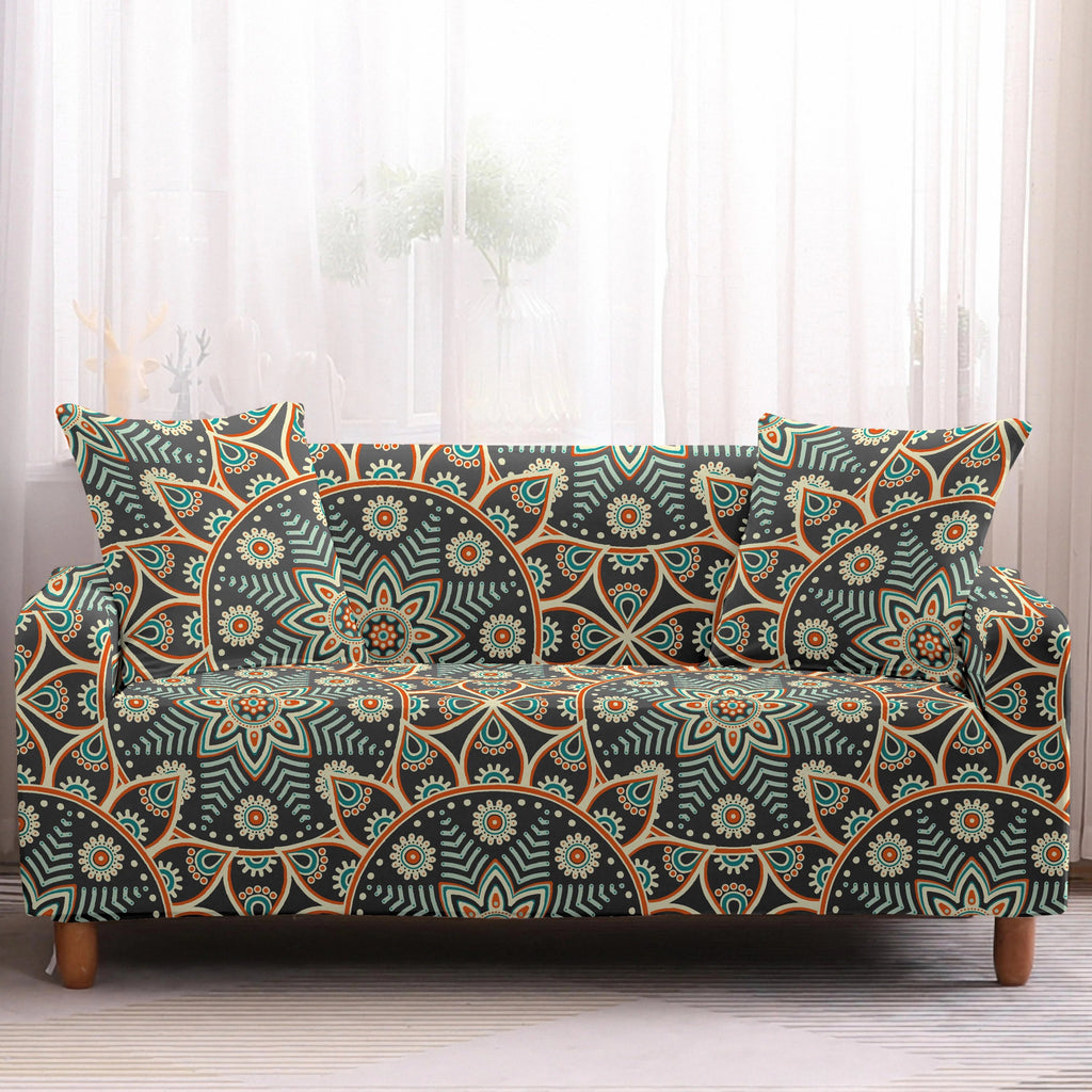 Brown / Orange Bohemian Mandala Pattern Sofa Couch Cover