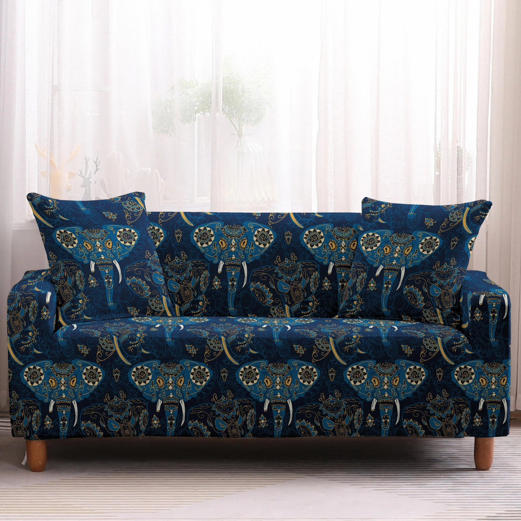 Blue Bohemian Elephant Pattern Sofa Couch Cover