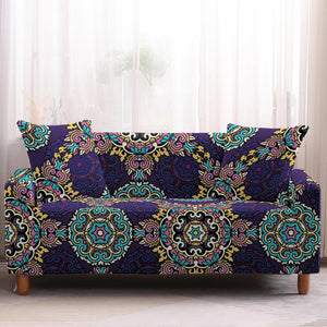 Purple Interlocking Bohemian Pattern Sofa Couch Cover