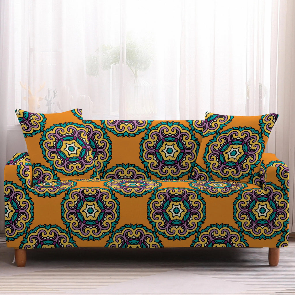 Orange Bohemian Medallion Pattern Sofa Couch Cover