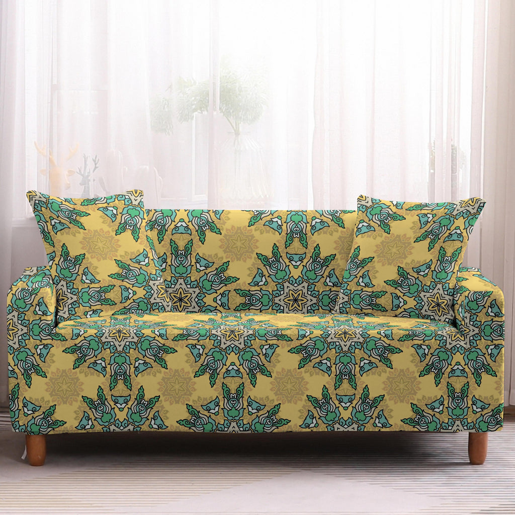 Yellow / Green Bohemian Kaleidoscope Pattern Sofa Couch Cover