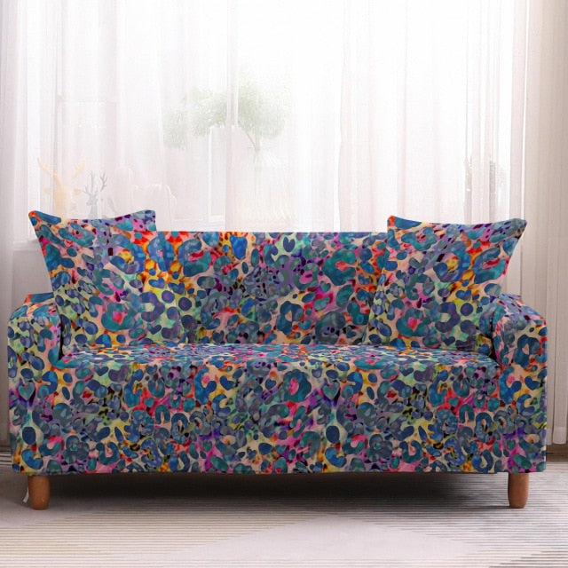 Colorful Leopard Print Pattern Sofa Couch Cover