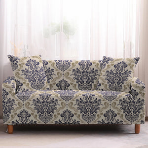 Beige Vintage Floral Medallion Pattern Sofa Couch Cover